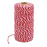 328 Feet Red White Gift Twine String Holiday Gift Twine Cotton Bakers Twine Crafts Christmas Gift...