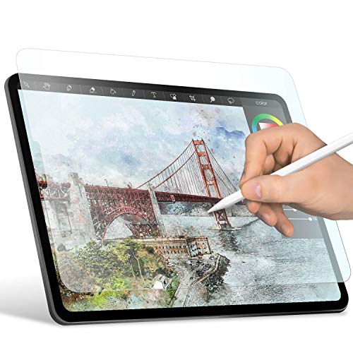 ELECOM-Japan Brand- Paper-Feel Screen Protector Compatible with iPad Pro 12.9 inch (2018) / Drawing, Anti Glare, Scratch Resistant/Smooth Type, TB-A18LFLAPLL-W