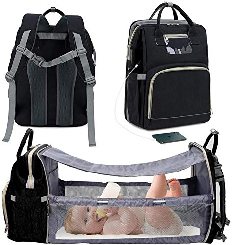 Baby Backpack with Changing Pad, Multifunctional, Large Capacity, Waterproof, with Stroller Straps, Travel Backpack (Color : Black)