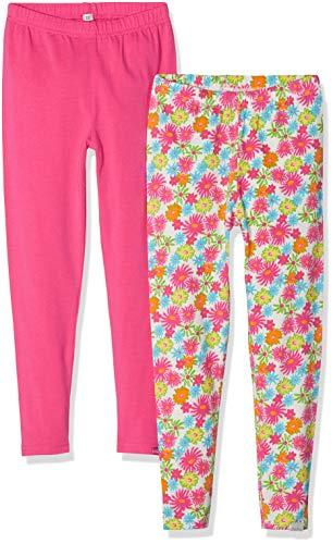 Playshoes Mädchen Blumen Allover Und Pink Im 2er Pack Leggings, Mehrfarbig (Sortiert 999), (Herstellergröße: 98)