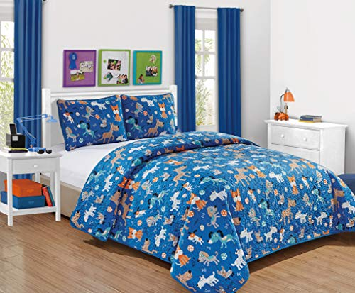 Better Home Style Blue Playing Puppy with Woof Woof Wagging Dogs Pups and Puppies Kids Toddler 2 Piece Coverlet Bedspread Quilt Set with Pillowcase (Blue Dog, Twin)