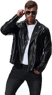 Mens Slim Fit Biker Zip Up Leather Jacket