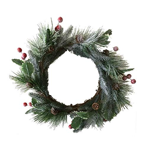 ZQZSDT Christmas Wreath, Simulation Cedar Christmas Garland Berry Ring Pine Needle Wreath Snow Ring Indoor Take A Photo Green