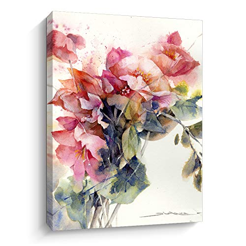 Flying Home Designer Abstract Watercolor Flower Painting Wall Art Canvas Prints Bathroom Floral Canvas Wall Decor Flower In Bottle Wall Picture Decor For Living Room Kitchen Bathroom (J,12' X 16')