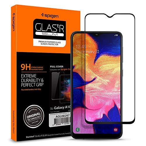 Spigen, Panzerglas Schutzfolie kompatibel mit Samsung Galaxy A10, Schwarz Volle Abdeckung, Kristallklar, 9H gehärtetes Glas, Antikratz, Glas 0.33mm, Galaxy A10 Panzerglas (AGL00297)