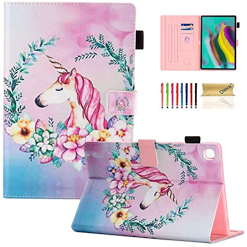 Dteck Case for Galaxy Tab S5e 10.5 2019 SM-T720/T725 - Slim PU Leather Multi-Angle Folio Stand Smart Cover with Card Holder for Samsung Galaxy Tab S5e 10.5 inch 2019 Release, Pink Unicorn
