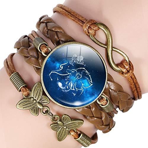 YUHOOE Herren Lederarmband,12 Sternzeichen Leder Armband Armreif Jungfrau Waage Skorpion Schütze Sternbild Schmuck Geburtstagsgeschenk