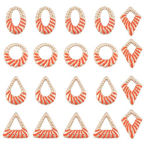 SUNNYCLUE 1 Caja 20PCS 5 Formas Colgantes Esmaltados, Triángulo de Tomate Chapado En Oro Formas Ovaladas Redondas Esmalte Encantos Geométricos Colgantes para Mujeres Gilrs Fabricación de Joyas