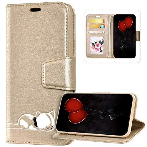 Funda Billetera Compatible con iPhone 6S Plus, Cuero de PU Cartera Folio Carcasa con Gato Diseño Cierre Magnético Soporte Antigolpes Libro Flip Piel Cubierta Protectora para iPhone 6 Plus/6S Plus,Oro