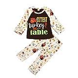 Clacce Halloween Baby Set Kleinkindset Kinder Baby Mädchen Thanksgiving Türkei Tops + Cartoon Hosen Outfits Set Thanksgiving Baby Kleidung