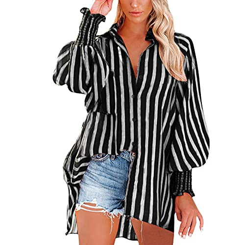 Wave166 Blusa para mujer, camiseta de manga larga a rayas con temperamento, patchwork, tops de longitud media, moderna, informal, holgada, con corte clásico., Negro , XL