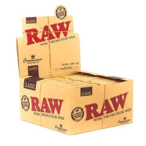 Zigarettenpapier Raw Connoisseur, lange Blättchen, schmal, einschließlich Filterpapier, 24Stück Originalverpackung