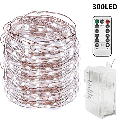 Twinkle Star 300 LED 99 FT Copper Wire String Lights Battery Operated 8 Modes with Remote, Fairy String Lights for Indoor Outdoor Home Wedding Party Decoration, White