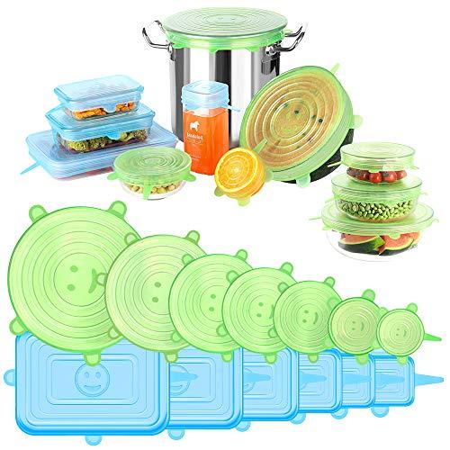 UOON Tapas de Silicona Elásticas 13pcs Tapas de Silicona Reutilizables Ecológicas para Alimentos Tapas Expansibles Rectangulares y Redondas para Varios Contenedores, Platos, Tazones, Latas