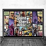 stampa su tela 50x70cm senza cornice videogioco gta 5 grand theft auto poster picture home art decor pittura