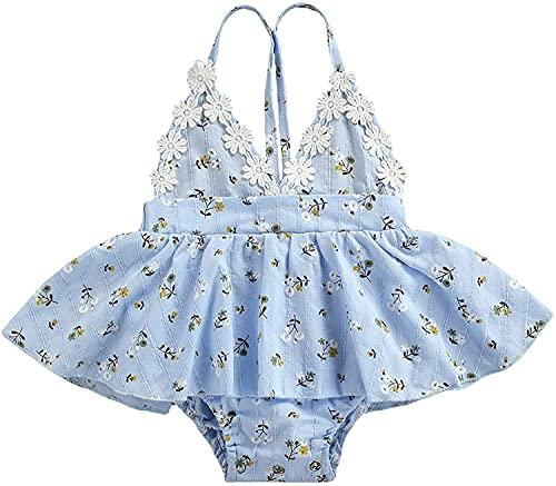 Carolilly Pagliaccetto Estivo Neonata Vestito Principessa Elegante Tutina Neonata in Pizzo Stampa Floreale Senza Manica (Blu, 0-6 Mesi)