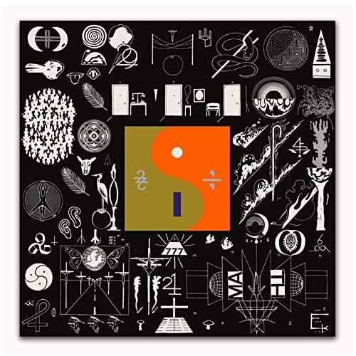 LIUXR Bon Iver 22 A Million Rock Music Band Abstraktes Cover Poster und Drucke Wandkunst Druck auf Leinwand Home Decor Geschenk -20X20 Zoll No Frame 1 Pcs