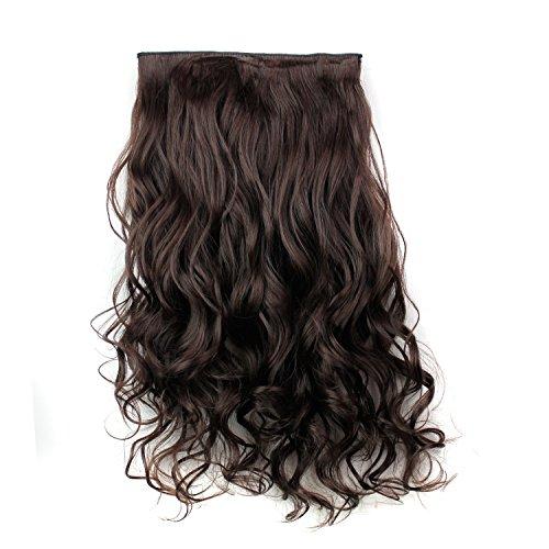 Fouriding Perruque Femme 24 pouces (61cm) de Full Clip Tete dans les extensions de cheveux ondules boucles
