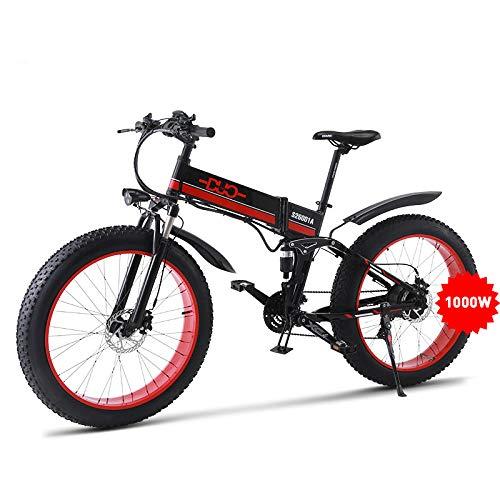 GUNAI Bicicletta Elettrica Pieghevole Bici da Montagna 48V 1000W Ebike con Batteria al Litio da 26Velocità Sospensione Completa Premium e Cambio con Sedile Posteriore