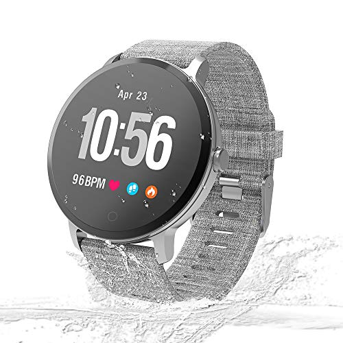 Unique-Fit Smart Watch Fitness Tracker Smart Watch IP67 Waterproof Activity Tracker Sleep Monitor, Step Counter, Smart Sports Watch for Kids Women and Men (Gray)