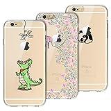 Yokata [3 Packs Funda para iPhone 6 Funda iPhone 6s Carcasa Transparente Ultra Suave Silicona TPU Case con Dibujo Anti-Arañazos Caso Cover - Greedy Dragon + Panda + Elephant
