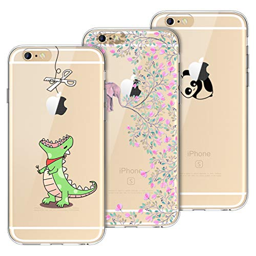 Yokata [3 Packs Funda para iPhone 6 Funda iPhone 6s Carcasa Transparente Ultra Suave Silicona TPU Case con Dibujo Anti-Arañazos Caso Cover - Greedy Dragon + Panda + Elephant