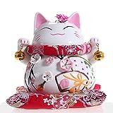 Maneki Neko - afortunado japonés del gato de porcelana con dos campanas - de alta calidad, porcelana...