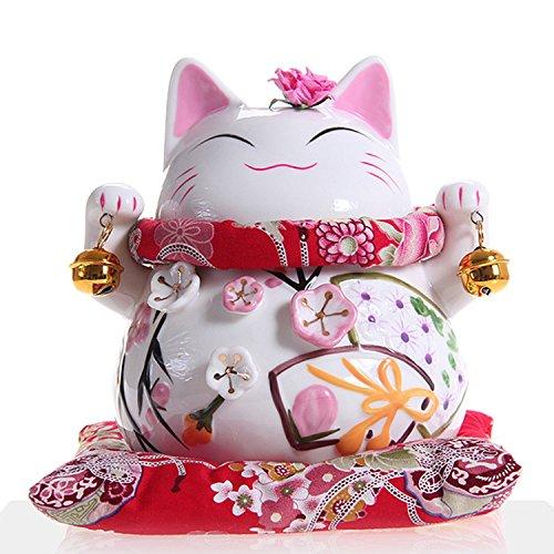 Maneki Neko - Gatto Bianco Giapponese Feng Shui Fortunato Con Due Campana - Porcellana Fine, Come Un Salvadanaio E Portafortuna (Mezzo (15 Cm))
