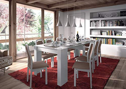 HABITMOBEL Mesa de Comedor Consola Extensible hasta 235 cm Blanca (Disponible Peninsula + Islas baleares)