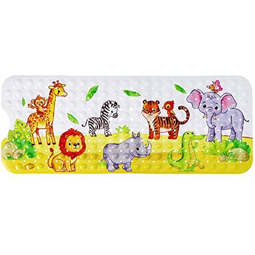 Tapis de Bain pour bébé Enfant en Bas âge, Extra Long 100x40cm Tapis de Bain antidérapant pour Douche de bébé avec ventouses (Beau Zoo)