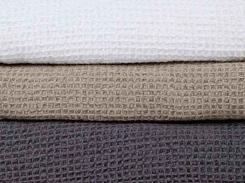 Klippan Weiße Waffelpikee Decke aus 100% Baumwolle, 150x240cm