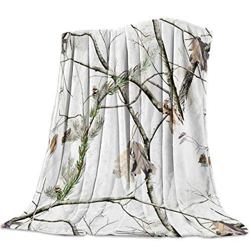 Yaxinduobao Flannel Fleece Throw Manta Microfiber Plush Bed Manta Camouflage Tree Pattern Super Soft Cozy Lightweight Manta for Couch Chair All Seasons 50x59 Inch