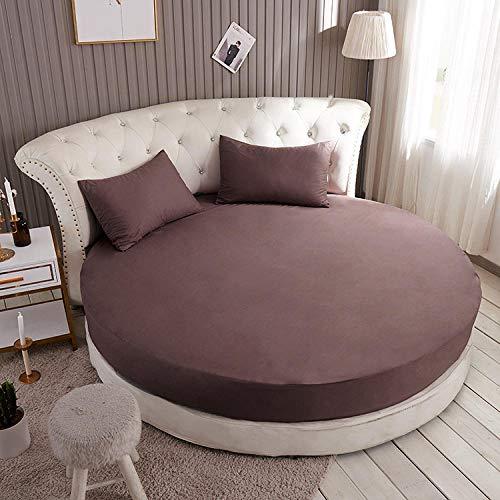 HPPSLT Protector de colchón Acolchado - Microfibra - Transpirable Colchón de Cama Redondo de una Sola Pieza Full Circle-Coffee_2.2m + un par de Fundas de Almohada