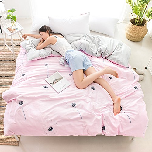 SL-DAM katoenen dekbedovertrek, eenstuk herfst winter double 1,8 m quilt 1,5 m beddengoed vrouwelijke studentenwohnheim zacht allergie-geschikt dekbedovertrek-v 160 x 210 cm (63 x 83 inch)