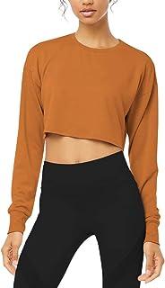 Bestisun Women Basic Long Sleeve Workout Sports Crop Top Sexy Athletic Yoga Shirts Thumb Holes
