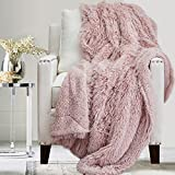 The Connecticut Home Company Soft Fluffy Warm Shag and Sherpa Throw Blanket, Luxury Thick Fuzzy Blankets for Home and Bedroom Décor, Comfy Washable Accent Throws for Sofa Beds Couch, 65x50, Dusty Rose