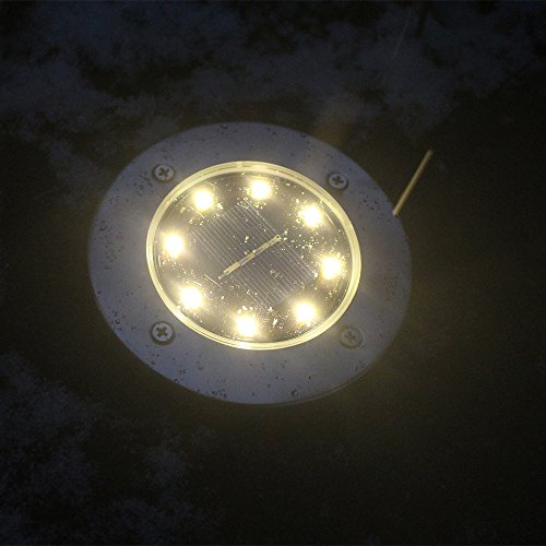 US Shipment Solar Power Buried Light Wish 8 LED Under Ground Lamp Outdoor Solar Disk Light Outdoor Waterproof LED Lights for Lawn Garden Waterproof Ground Plug Light White Light (Warm White)