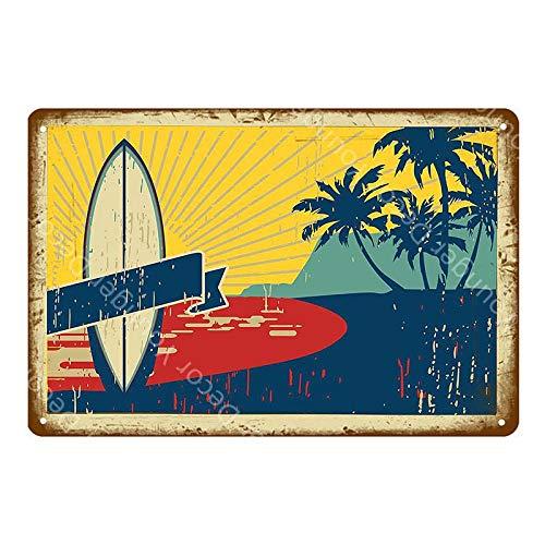ivAZW Metal Tin Signs Vintage Shop Decor Wall Art Painting Plate Seaside Bar Pub Club Plaque Beach Poster 20x30cm YD5209G