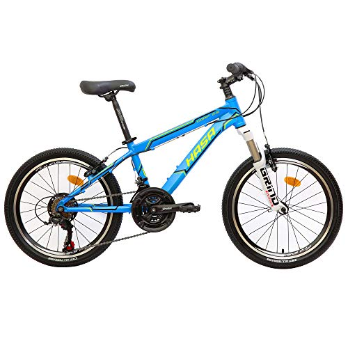"HASA Bicycle Boys Kids Mountain Bike Shimano 18 Speed 20"" Wheels 12"" Frame Blue"