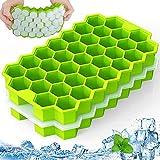 Vassoio per cubetti di ghiaccio con coperchio rimovibile antigoccia,stampi per cubetti di ghiaccio in silicone a sgancio facile 74-Stampi per cubetti di ghiaccio senza BPA Set di 2 vassoi per cubetti