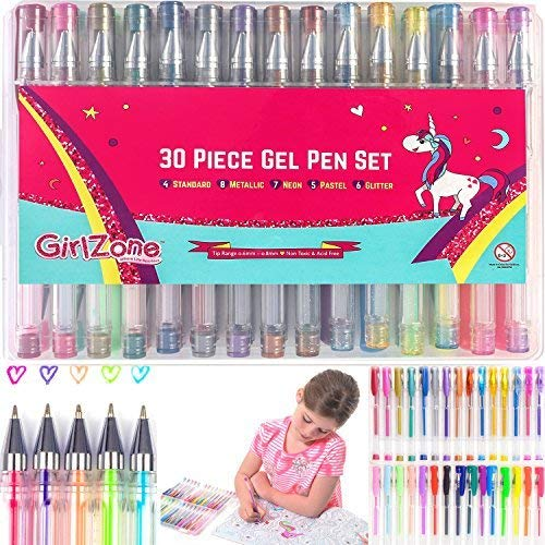 GirlZone 30 Piece Colouring Gel Pens Set Ideal Birthday Present Arts Crafts