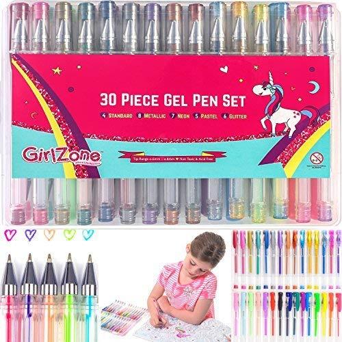 GirlZone Geschenke für Mädchen - Gelstifte Set für Mädchen, Set 30 Gelstifte Glitzer mit Etui - Malset Mädchen Zeichnen Gelmalstifte -Schreibset - Gelschreiber Set Gelstifte -Kinder