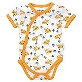 Baby Sweets Baby Kurzarm-Body für Jungen & Mädchen/Baby-Erstausstattung aus Bambus/Baby-Wickel-Body im Fuchs-Motiv in Weiß-Orange für Neugeborene/Wickelbody-Babykleidung in Größe 0-3 Monate (62)
