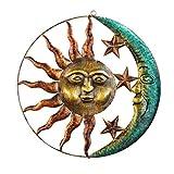 OOTD Hierro Sun Moon Decoración De La Pared, 40 × 40 × 2 Cm / 15.7 × 15.7in Sun Moon Artistic Metal Wall Art Ornamento Antiguo Acabado Bronce Rústico Sol Face Sculpture 3D Celestial Colgante Plata
