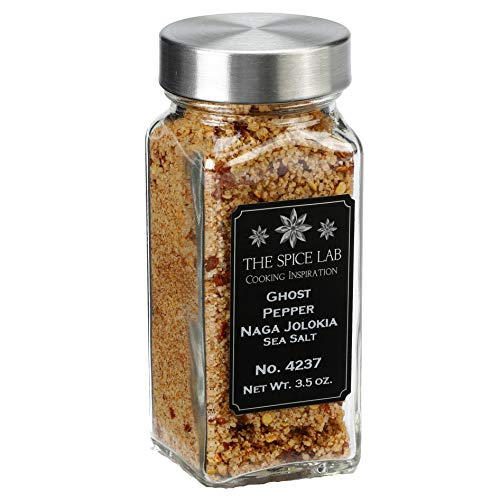 The Spice Lab - (3.5 oz) Ghost Pepper Salt (Naga Jolokia) - French Jar of Ghost Pepper Sea Salt- Gluten-Free Non-GMO All Natural Premium Gourmet Spicy Salt - No. 237