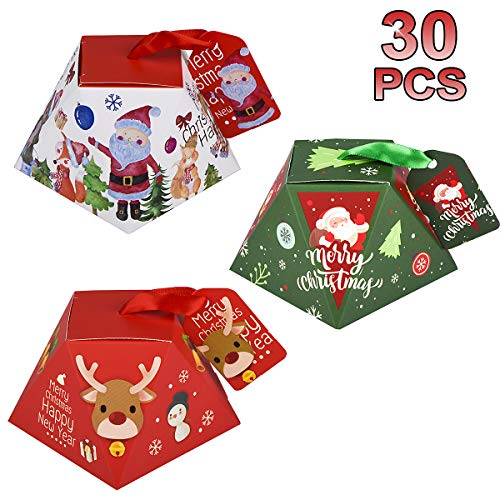 MELLIEX 30pcs Scatole di Caramelle di Natale Scatole Regalo di Natale per Bomboniere con Etichetta per Forniture per Feste di Natale