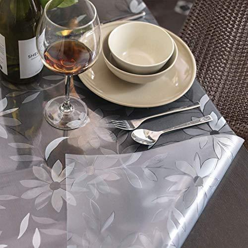 Klarer PVC-tischschutz,rechteckige Bedruckte Tischdecke Wasserdicht Vinyl Tischbezug Für Schreibtischessen Coffee Table-Blume 90x130cm(35x51inch)