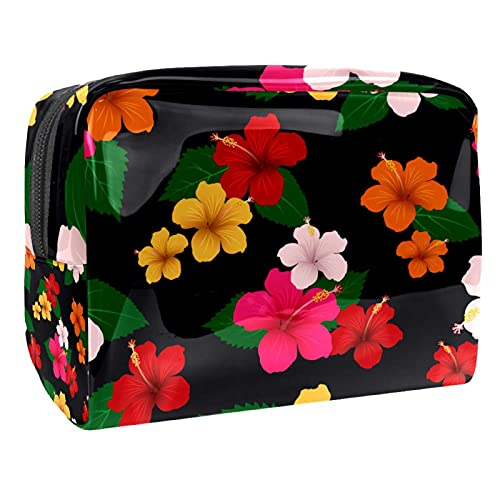 Bola de Navidad dorada con fondo geométrico organizador de maquillaje bolsa cosmética 18.5x7.5x13cm/7.3x3x5.1in (L xW xH) Kit de viaje para hombres y mujeres, Multi-4, 18.5x7.5x13cm/7.3x3x5.1in,