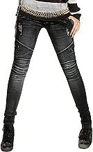 AUSZOSLT Womens Ripped Moto Biker Stretch Skinny Jeans Zip Rider Denim Pants