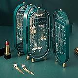 YUTR Caja de joyería Caja de Almacenamiento 4 Cajas de Almacenamiento Pendientes de Collar de Anillo Espejo Soporte de exhibición, Joyero de Escritorio